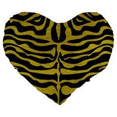 Skin2 Black Marble & Yellow Leather (r) Large 19  Premium Heart Shape Cushions