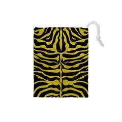 Skin2 Black Marble & Yellow Leather (r) Drawstring Pouches (small)