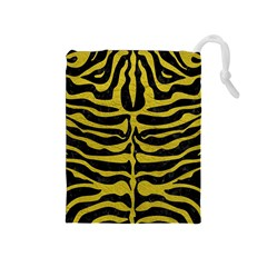 Skin2 Black Marble & Yellow Leather (r) Drawstring Pouches (medium)