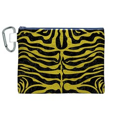 Skin2 Black Marble & Yellow Leather (r) Canvas Cosmetic Bag (xl)