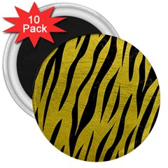 Skin3 Black Marble & Yellow Leather 3  Magnets (10 Pack)