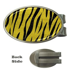 Skin3 Black Marble & Yellow Leather Money Clips (oval)