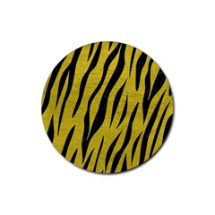 Skin3 Black Marble & Yellow Leather Rubber Round Coaster (4 Pack)