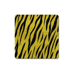 Skin3 Black Marble & Yellow Leather Square Magnet