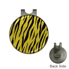 Skin3 Black Marble & Yellow Leather Hat Clips With Golf Markers