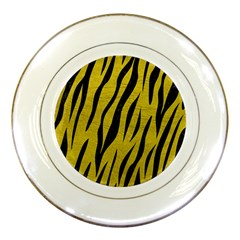 Skin3 Black Marble & Yellow Leather Porcelain Plates