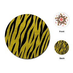 Skin3 Black Marble & Yellow Leather Playing Cards (round)