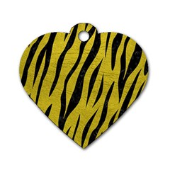 Skin3 Black Marble & Yellow Leather Dog Tag Heart (two Sides)