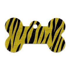 Skin3 Black Marble & Yellow Leather Dog Tag Bone (two Sides)