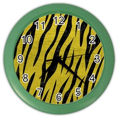 Skin3 Black Marble & Yellow Leather Color Wall Clocks