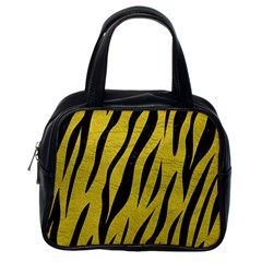Skin3 Black Marble & Yellow Leather Classic Handbags (one Side)