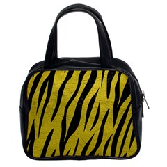 Skin3 Black Marble & Yellow Leather Classic Handbags (2 Sides)