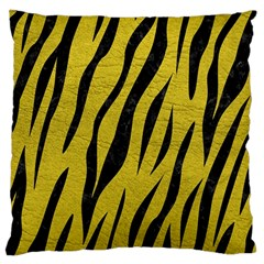 Skin3 Black Marble & Yellow Leather Large Cushion Case (two Sides)