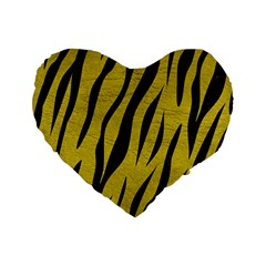 Skin3 Black Marble & Yellow Leather Standard 16  Premium Heart Shape Cushions