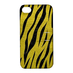Skin3 Black Marble & Yellow Leather Apple Iphone 4/4s Hardshell Case With Stand