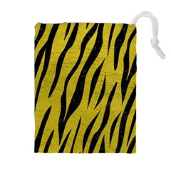 Skin3 Black Marble & Yellow Leather Drawstring Pouches (extra Large)