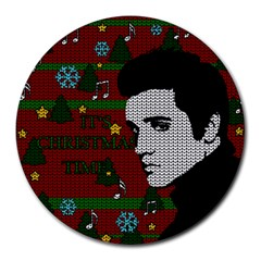 Elvis Presley   Christmas Round Mousepads