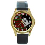 Elvis Presley - Christmas Round Gold Metal Watch Front