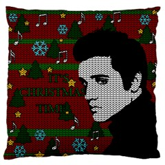 Elvis Presley   Christmas Large Flano Cushion Case (one Side)