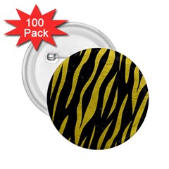 Skin3 Black Marble & Yellow Leather (r) 2 25  Buttons (100 Pack)