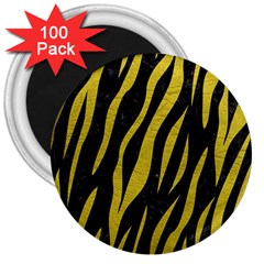 Skin3 Black Marble & Yellow Leather (r) 3  Magnets (100 Pack)