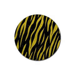 Skin3 Black Marble & Yellow Leather (r) Rubber Coaster (round)