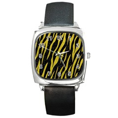 Skin3 Black Marble & Yellow Leather (r) Square Metal Watch