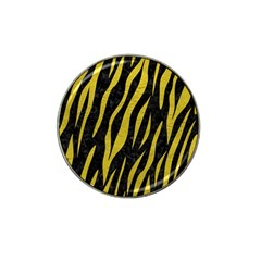 Skin3 Black Marble & Yellow Leather (r) Hat Clip Ball Marker