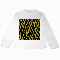 Skin3 Black Marble & Yellow Leather (r) Kids Long Sleeve T Shirts