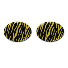 Skin3 Black Marble & Yellow Leather (r) Cufflinks (oval)