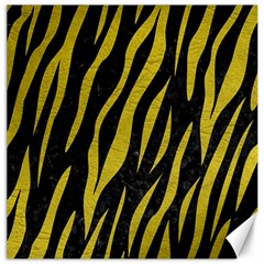 Skin3 Black Marble & Yellow Leather (r) Canvas 12  X 12