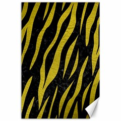 Skin3 Black Marble & Yellow Leather (r) Canvas 24  X 36