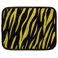 Skin3 Black Marble & Yellow Leather (r) Netbook Case (large)