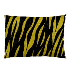 Skin3 Black Marble & Yellow Leather (r) Pillow Case