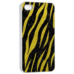 Skin3 Black Marble & Yellow Leather (r) Apple Iphone 4/4s Seamless Case (white)
