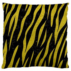 Skin3 Black Marble & Yellow Leather (r) Large Cushion Case (one Side)