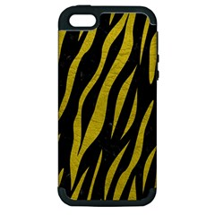 Skin3 Black Marble & Yellow Leather (r) Apple Iphone 5 Hardshell Case (pc+silicone)