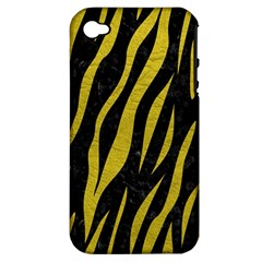 Skin3 Black Marble & Yellow Leather (r) Apple Iphone 4/4s Hardshell Case (pc+silicone)