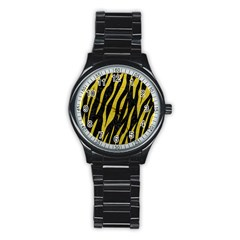 Skin3 Black Marble & Yellow Leather (r) Stainless Steel Round Watch