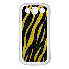 Skin3 Black Marble & Yellow Leather (r) Samsung Galaxy S3 Back Case (white)