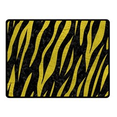 Skin3 Black Marble & Yellow Leather (r) Double Sided Fleece Blanket (small)