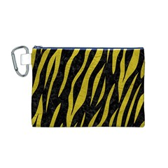 Skin3 Black Marble & Yellow Leather (r) Canvas Cosmetic Bag (m)