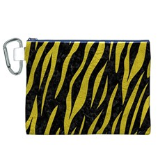Skin3 Black Marble & Yellow Leather (r) Canvas Cosmetic Bag (xl)