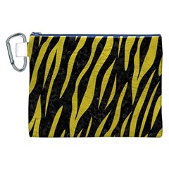 Skin3 Black Marble & Yellow Leather (r) Canvas Cosmetic Bag (xxl)