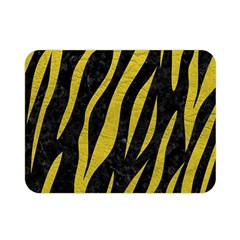 Skin3 Black Marble & Yellow Leather (r) Double Sided Flano Blanket (mini)