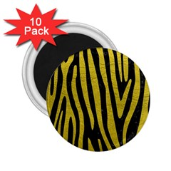 Skin4 Black Marble & Yellow Leather 2 25  Magnets (10 Pack)