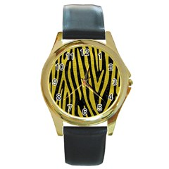 Skin4 Black Marble & Yellow Leather Round Gold Metal Watch