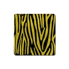 Skin4 Black Marble & Yellow Leather Square Magnet
