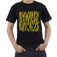 Skin4 Black Marble & Yellow Leather Men s T Shirt (black) (two Sided)