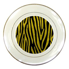 Skin4 Black Marble & Yellow Leather Porcelain Plates